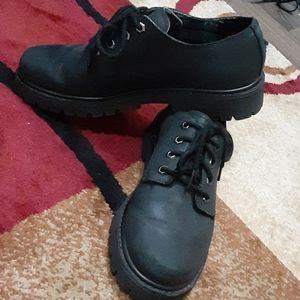 Black Leather Sketchers ankle boot shoes Sz 9